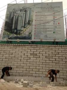 Hình ảnh thi công tại dự án - Xây tường bao bằng gạch nhẹ AAC